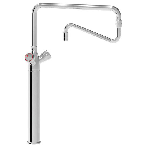 Monoblock mixer tap large type with long base and double spout